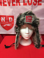 Bar Down Fur Trapper Style Hat with ND Logo