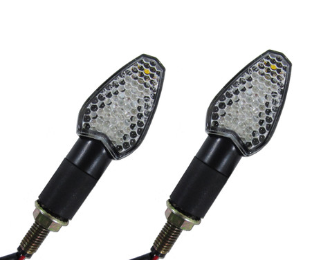 Each motorcycle turn signal indicator has a black colored finish, has a honeycomb clear lens with a rear amber colored side marker lens and includes a black, rubber, weather resistant mounting stud, with metal threaded mounting shaft.  Turn signals come as a pair and all hardware for installing them is included.  Sold as a pair (two pieces)