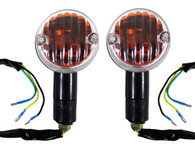Each turn signal has 3 wires which lets you use these turn signals as directionals, running lights, or both simultaenously.  Turn signals have a dual filament bulb which can be replaced whenever necessary.  Turn signals also feature a black, rubber, weather resistant mounting stud.   Sold as a pair.