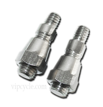 Chrome motorcycle mirror thread adapters for motorcycle mirrors.