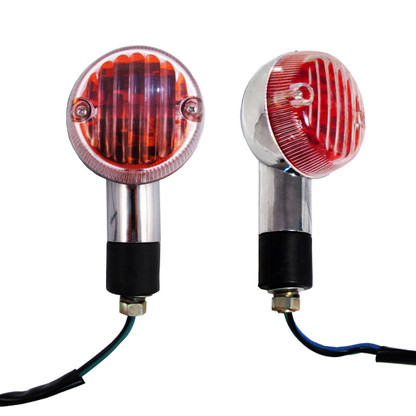 Each turn signal indicator is chrome plated and features a black, rubber, weather resistant mounting stud.