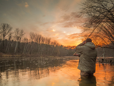 Aluminum Print--Spey Casting in the Sunset by Kevin Feenstra