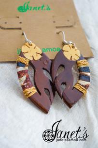 Janet's Samoa Tapa Covered Coconut Earrings