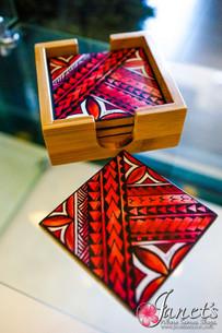 Bamboo Coloured Coaster Set HW40-RedMotif