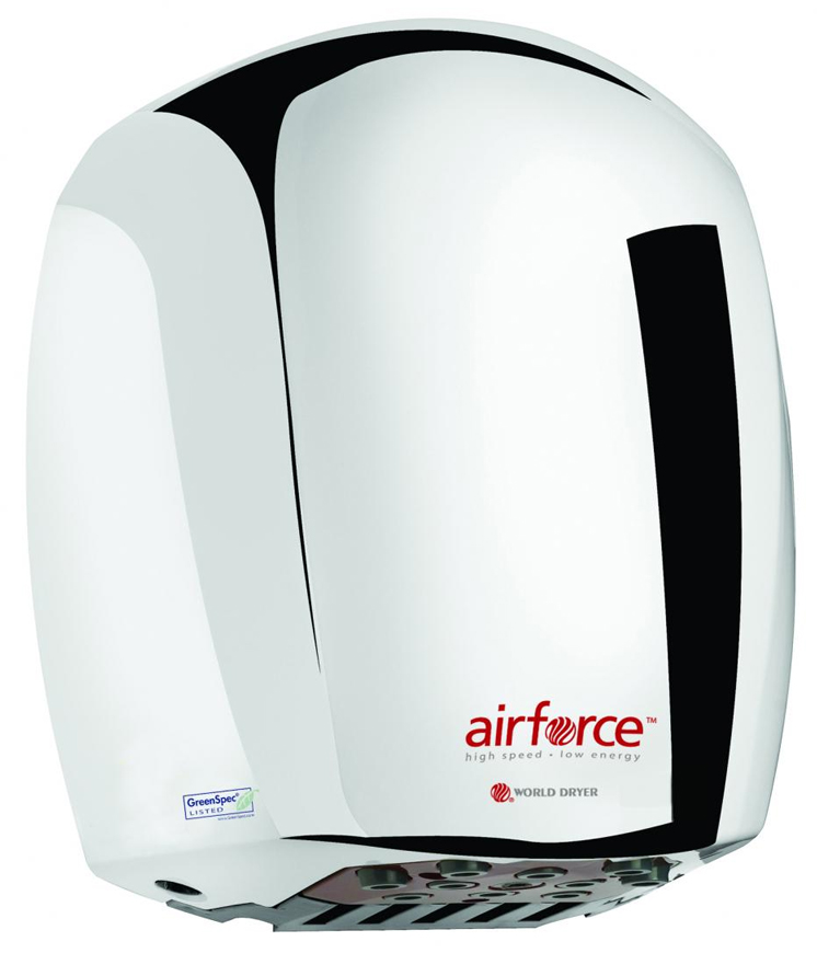 The energy efficient Airforce J-970 high speed hand dryer is surface mounted with an aluminum polished chrome cover and is made by World Dryer