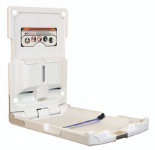 World Dryer DryBaby ABC-300V Polyethylene White Surface Mount Vertical Style Baby Changing Station