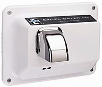 CAST Series R76-IW Hands Off Washroom Hand Dryer from Excel Dryer - Die-cast Zinc Alloy, White Epoxy Painted Cover, Automatic, Recessed Mount