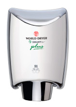 World Dryer SMARTdri Plus K-970P Aluminum Polished Chrome Surface Mounted, Automatic hand dryer with a single-port nozzle. The best among commercial hand dryers.