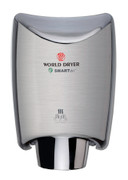 World Dryer SMARTdri Plus K-973P Brushed Stainless Steel electric hand dryer has a single port nozzle