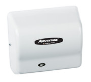 AD90H Advantage wall mounted hair dryer by American Dryer in White ABS