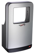 ASI Triumph Hand Dryer 20200 in black and silver is high speed and shines a blue LED light when activated.