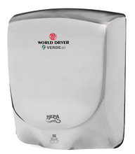 World Dryer VERDEdri Q-972A Polished Stainless Steel high speed hand dryer has a single port nozzle