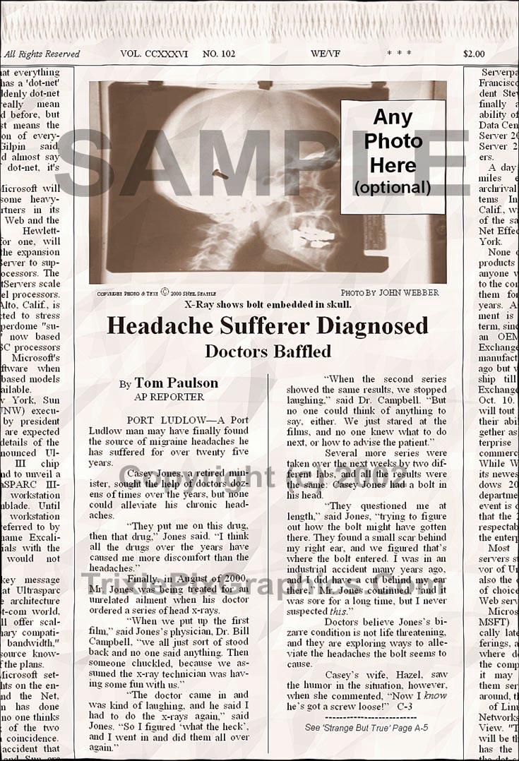 Fake Joke Newspaper Article HEADACHE SUFFERER DIAGNOSED