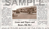 Fake Joke Newspaper Article LIONS AND TIGERS AND BEARS, OH MY!