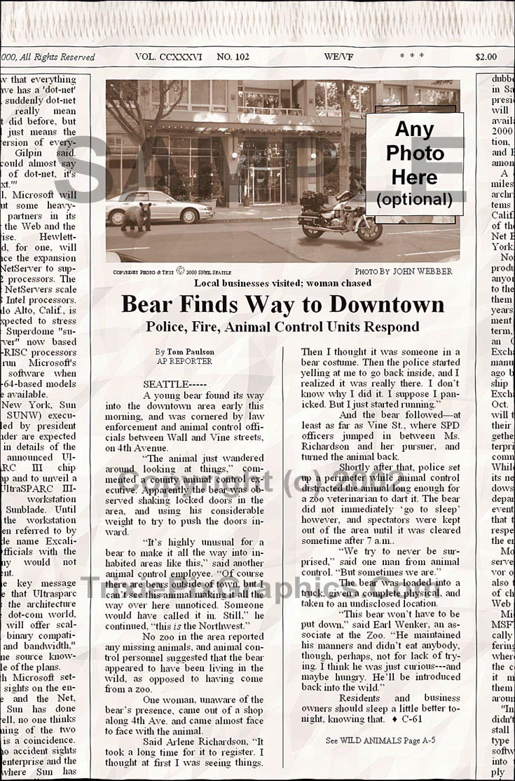 Fake Joke Newspaper Article BEAR FINDS WAY TO DOWNTOWN