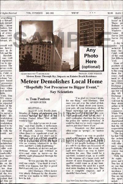 Fake Joke Newspaper Article METEOR DEMOLISHES LOCAL HOME