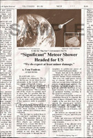 "Fake Joke Newspaper Article ""SIGNIFICANT"" METEOR SHOWER HEADED FOR US"