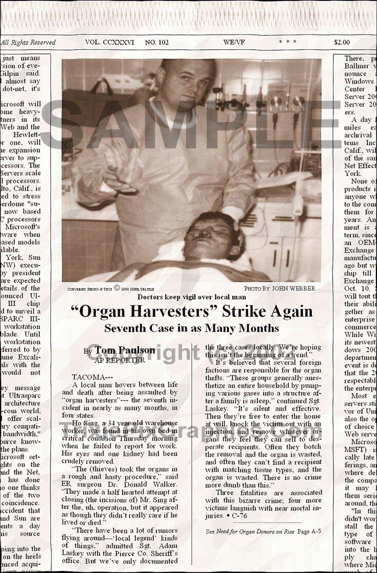 "Fake Joke Newspaper Article ""ORGAN HARVESTERS"" STRIKE AGAIN"