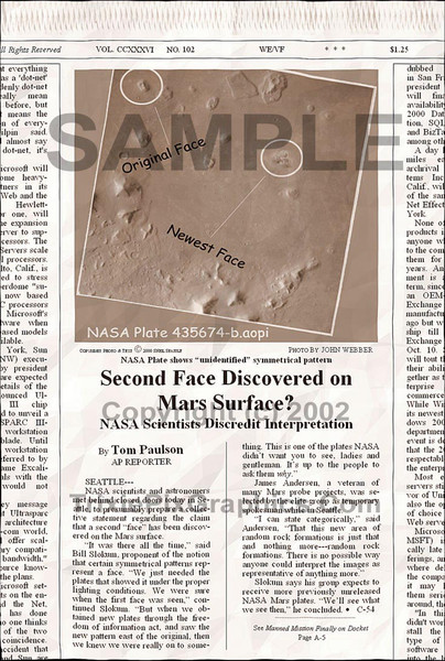 Fake Joke Newspaper Article SECOND FACE DISCOVERED ON MARS SURFACE