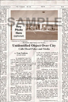 Fake Joke Newspaper Article UNIDENTIFIED OBJECT OVER CITY