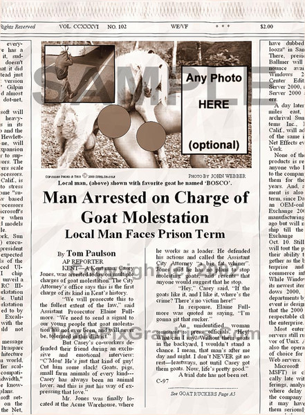 Fake Joke Newspaper Article MAN ARRESTED ON CHARGE OF GOAT MOLESTATION
