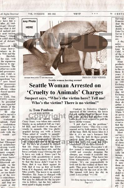 Fake Joke Newspaper Article HORSE CRAZY