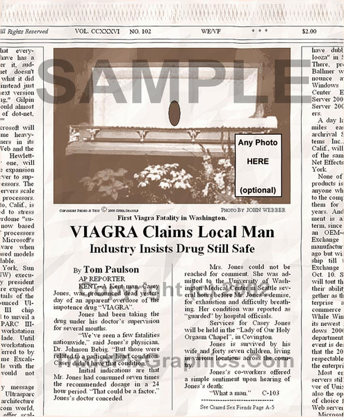 Fake Joke Newspaper Article VIAGRA CLAIMS LOCAL MAN