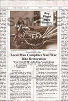 Fake Joke Newspaper Article RESTORED NAZI WAR BIKE