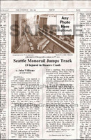 Fake Joke Newspaper Article SEATTLE MONORAIL JUMPS TRACK