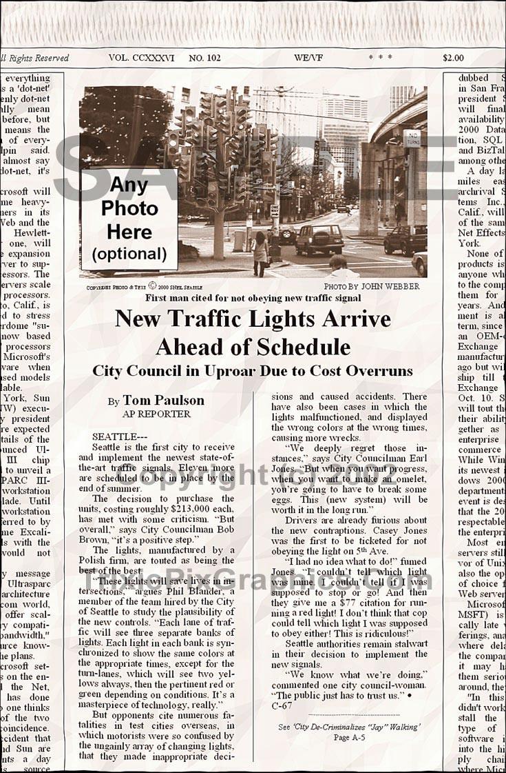 Fake Joke Newspaper Article NEW TRAFFIC LIGHTS ARRIVE AHEAD OF SCHEDULE