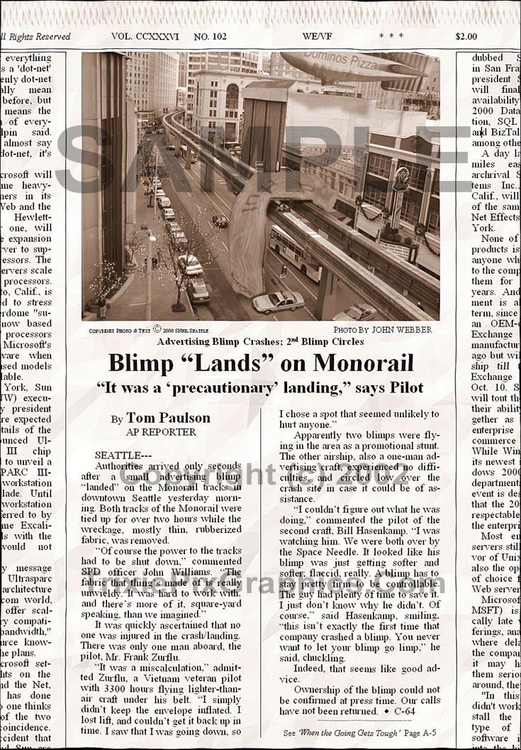 "Fake Joke Newspaper Article BLIMP ""LANDS"" ON MONORAIL"