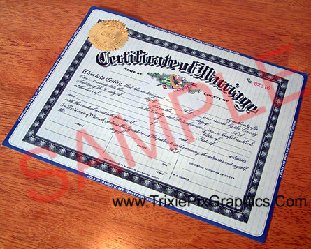 Fake Marriage Certificate on Security Paper