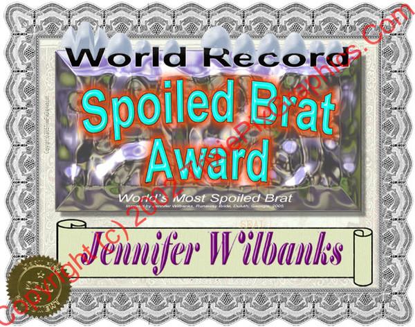 Jennifer Wilbanks Spoiled Brat Award