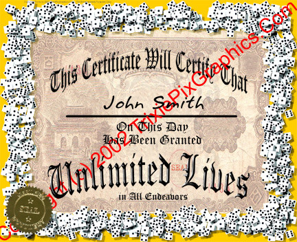 Certificate of Unlimited Lives