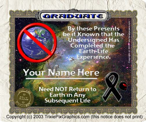 Earth Graduation Certificate