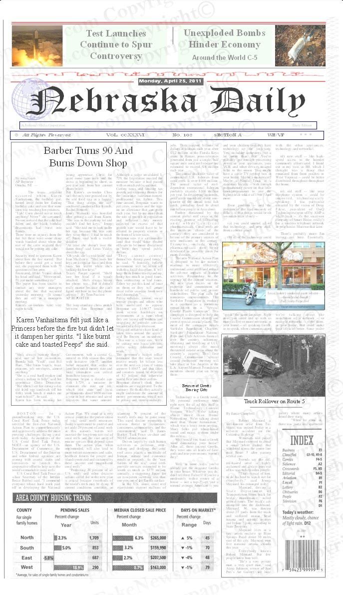 "Template Name: ""No Headline"" This newspaper template has no Headline. Just the newspaper name and the article below it."