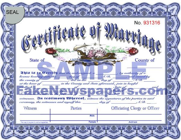 Fake Marriage Certificates