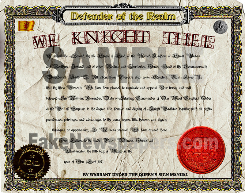 Fake Certificate of Knighthood