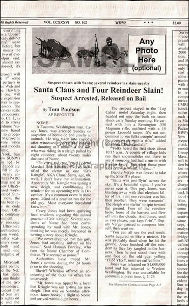 Fake Joke Newspaper Article SANTA CLAUS AND FOUR REINDEER SLAIN