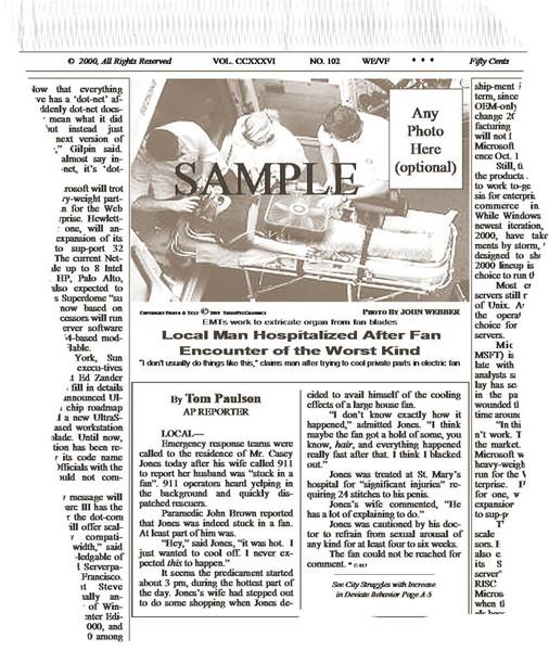 Fake Joke Newspaper Article EMTs WORK TO EXTRICATE ORGAN FROM FAN BLADES