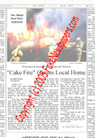 Fake Joke Newspaper Article CAKE FIRE CLAIMS LOCAL HOME