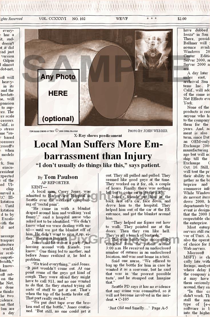 Fake Joke Newspaper Article LOCAL MAN SUFFERS MORE EMBARRASSMENT THAN INJURY