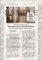 Fake Joke Newspaper Article MAN SUES OVER WORLD RECORD