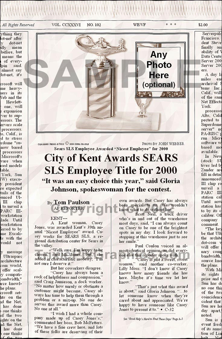 "Fake Joke Newspaper Article  WAREHOUSE EMPLOYEE AWARDED ""NICEST EMPLOYEE"""