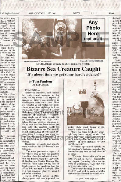 Fake Joke Newspaper Article BIZARRE SEA CREATURE CAUGHT