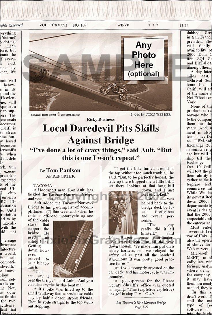 Fake Joke Newspaper Article LOCAL DAREDEVIL PITS SKILLS AGAINST BRIDGE