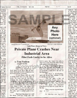 Fake Joke Newspaper Article PRIVATE PLANE CRASHES NEAR INDUSTRIAL AREA