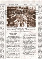 Fake Joke Newspaper Article STOCKS SLUMP; EMERGENCY ACTIONS INVOKED