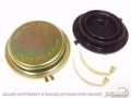 64-66 Master Cylinder Cap, Disc, Gold Zinc