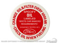 Oil Filler Cap Decal